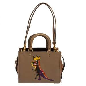 Coach x Jean-Michel Brown Leather and Suede Basquiat Rogue 25 Tote