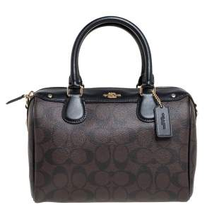 Coach Brown/Black Signature Coated Canvas and Leather Bennett Satchel