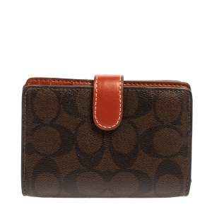 Coach Multicolor Signature Coated Canvas and Leather Compact Wallet