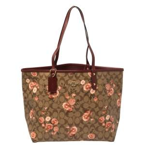 Coach Brown/Beige Floral Print Signature Coated Canvas and Leather Reversible City Tote