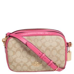 Coach  Beige/Pink Signature Coated Canvas and Leather Jes Crossbody Bag