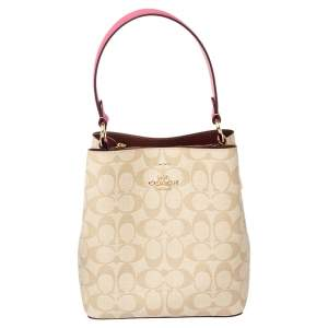 Coach Beige/Pink Signature Coated Canvas and Leather Small Town Bucket Bag