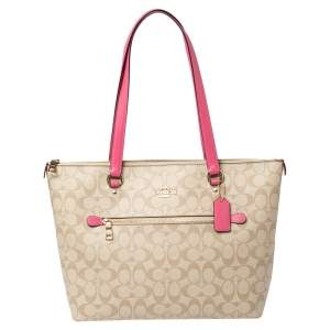 Coach Beige/Pink Signature Coated Canvas and Leather Gallery Tote