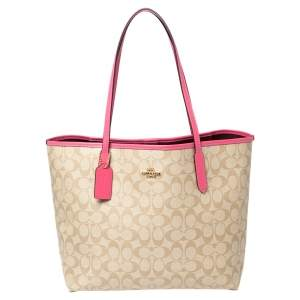 Coach Beige/Pink Signature Coated Canvas and Leather City Tote