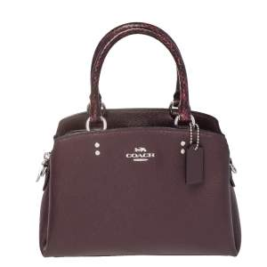 Coach Burgundy Python Embossed and Leather Mini Lillie Carryall Satchel