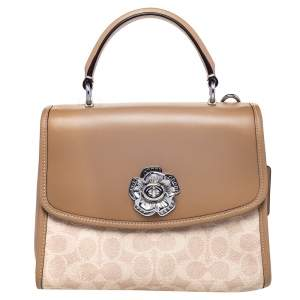 Coach Beige Signature Coated Canvas And Leather Parker Top Handle Bag