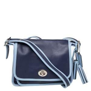 Coach Two-Tone Blue Leather Legacy Archival Shoulder Bag