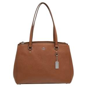 Coach Brown Saffiano Leather Double Zip Tote