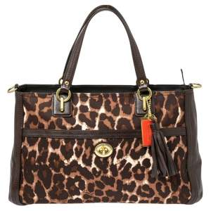 Coach Dark Brown Leopard Print Canvas and Leather Park Chain Ocelot Tote