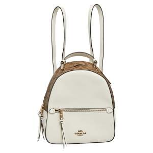 Coach White/Brown Signature Coated Canvas and Leather Jordyn Backpack