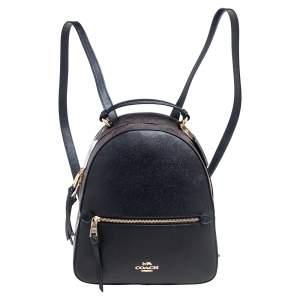 حقيبة ظهر كوتش جوردين كانفاس مقوى بالشعار وجلد أسود/بني
