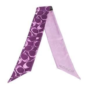 Coach Purple Logo Printed Silk Twilly Bandeau Scarf