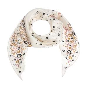 Coach Cream Floral Print Silk Diamond Scarf