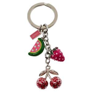 Coach Silver Tone Crystal Fruit Charms Key Ring
