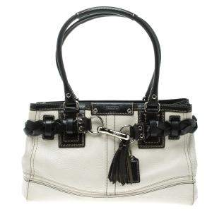 Coach White Leather Hamptons Braided Satchel