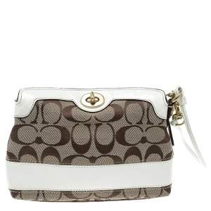 Coach Beige/White Signature Canvas Wristlet Pouch