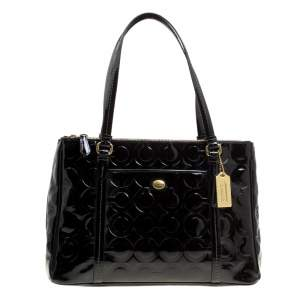 Coach Black Patent Leather Peyton Op Art Double Zip Satchel
