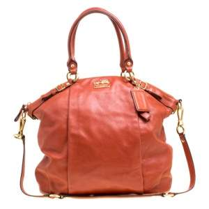 Coach Brown Leather Top Handle Bag