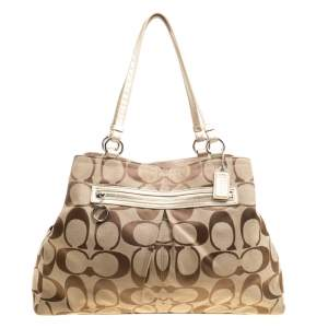 Coach Beige Signature Canvas Shopper Tote