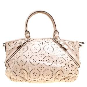 Coach Light Beige Laser Cut Leather Tote