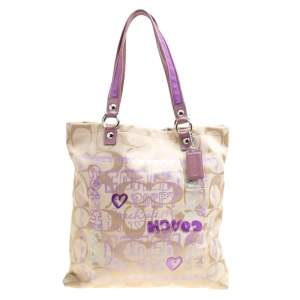 Coach Beige/Lilac Signature Canvas Poppy Glam Tote