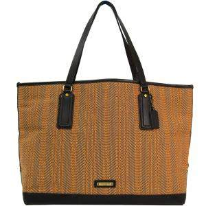 Coach Two Tone Woven Canvas and Leather Bleecker Market Tote