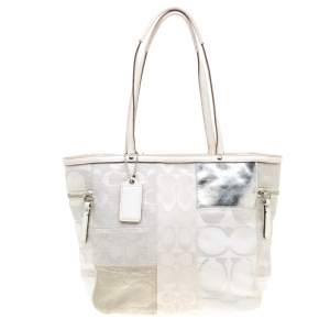 Coach White/Silver Canvas and Leather Patchwork Shopper Tote