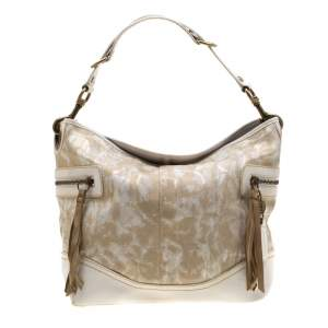Coach Beige/White Printed Canvas and Leather Hobo