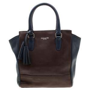 Coach Brown/Blue Leather Tanner Legacy Tote