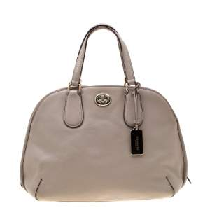 Coach Beige Leather Street Prince Satchel