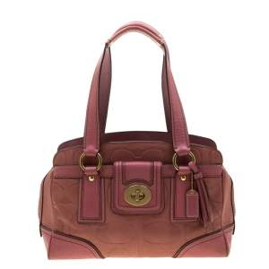 Coach Pink Leather Pocket Turnlock Satchel