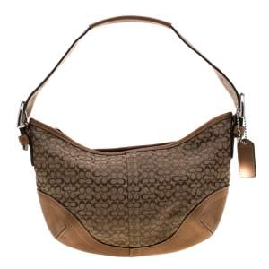 Coach Light Brown Signature Canvas And Leather Shoulder Bag