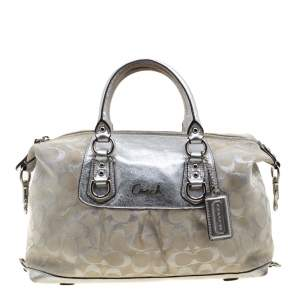 Coach Silver Canvas and Leather Ashley Satchel