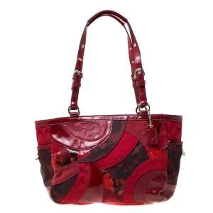 Coach Red Gallery Patchwork Canvas Tote