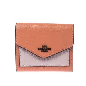 Coach Pastel Orange/Pink Leather Colorblock Trifold Wallet