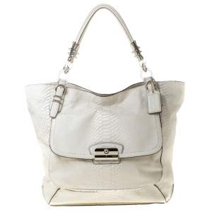 Coach White Python Embossed Leather Kristin Tote