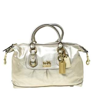 Coach Gold Metallic Leather Madison Sabrina Satchel