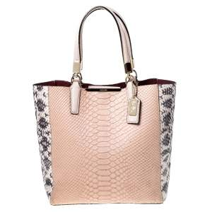 Coach Pale Orange/Beige Python Embossed Leather Mini North/South Tote