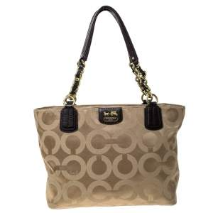 Coach Beige/Brown Fabric Madison Op Art Tote