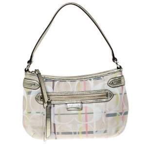 Coach Multicolor Signature Canvas and Leather Shoulder Bag