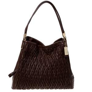 Coach Brown Leather Madison Phoebe Gathered Twist Shoulder Bag