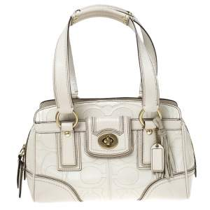 Coach Cream Monogram Leather Turnlock Satchel