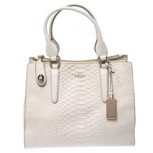 Coach Cream Python Embossed Leather Tote