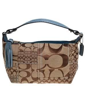 Coach Beige/Blue Canvas and Snakeskin Embossed Leather Tassel Zip Pochette Bag