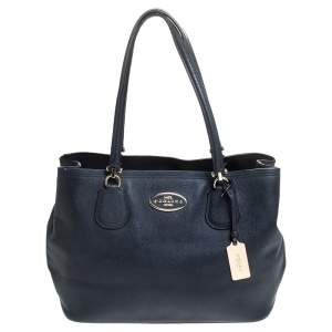 Coach Navy Blue Leather Kitt Carryall Satchel