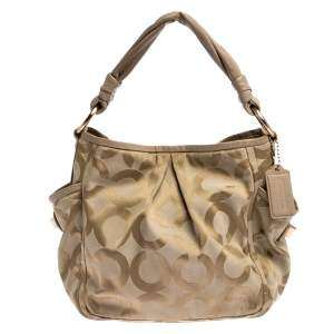 Coach Beige Canvas and Leather Op Art Parker Hobo