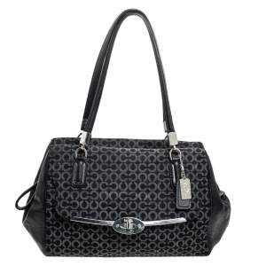 Coach Black Canvas and Leather Monogram Cc Optic Satchel