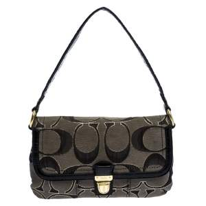 Coach Black/Grey Signature Canvas and Patent Leather Shoulder Bag