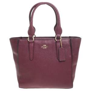 Coach Maroon Leather Carryall Tote