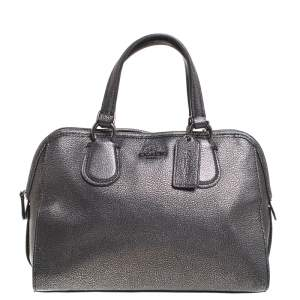 Coach Grey/Black Textured Leather Carryall Satchel
